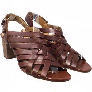Clarks Women's Sandals Sz Us 9M Brown Leather Heel